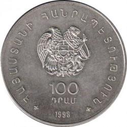 Moneda > 100dram, 1998 - Armenia  (WW Conservación de la Naturaleza '98 - Gaviota plateada armenia) - obverse