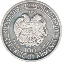 Moneda > 100dram, 2006 - Armenia  (Mundo Salvaje del Cáucaso - Gato del bosque caucasiano) - obverse