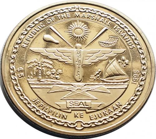 5 Dollar 1995 John F Kennedy Meet Any Hardship Marshall Inseln