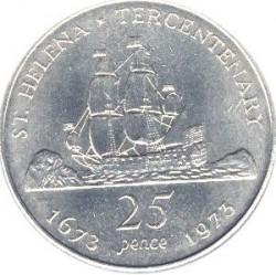 Moneta > 25pence, 1973 - Sant'Elena  (300° anniversario - Scoperta di Sant'Elena) - reverse