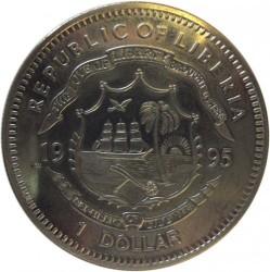 Moneta > 1dolar, 1995 - Liberia  (Ochrona Planety Ziemia - Leopard) - obverse
