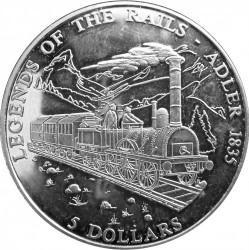 Монета > 5долара, 2001 - Либерия  (Legends of the Rails - Adler) - reverse