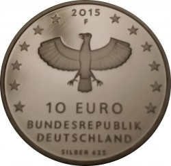 Moeda > 10euro, 2015 - Alemanha  (1000 Anos da Fundação da Cidade de Leipzig) - reverse