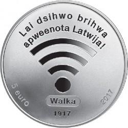 Coin > 5euro, 2017 - Latvia  (100th Anniversary - Latvian Provisional National Council) - obverse