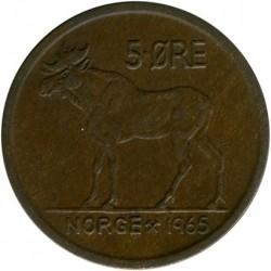 Mynt > 5ore, 1965 - Norge  - reverse