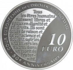 Moneda > 10euros, 2009 - Francia  (50 aniversario - Tribunal de los Derechos Humanos) - reverse