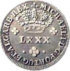Νόμισμα > 80Ρέις, 1828 - Πορτογαλία  (Points near the flower on the obverse) - obverse