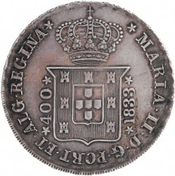 Mynt > 400 reis, 1833 - Portugal  (MARIA II DEI GRATIA. Corners at the arms) - obverse