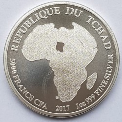 Coin > 5000 francs, 2017 - Chad  (Lion) - reverse