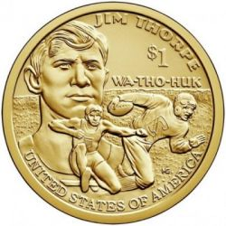 "Moneta > 1 doleris, 2018 - JAV  (Native American - Jim Thorpe ""Wa-Tho-Huk"") - obverse"