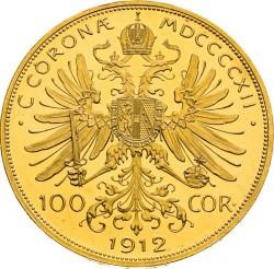 Mynt > 100kroner, 1909-1915 - Østerrike  - reverse