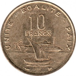 Moneda > 10francos, 1977-2017 - Djibouti  - obverse