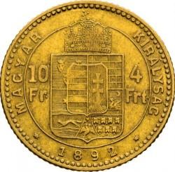 Moeda > 4forinte, 1890-1892 - Hungria  - reverse