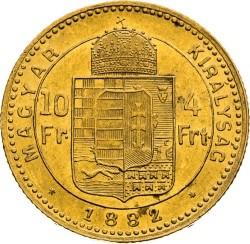 Moeda > 4forinte, 1880-1890 - Hungria  - reverse
