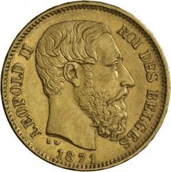 Monedă > 20franci, 1870-1882 - Belgia  - obverse