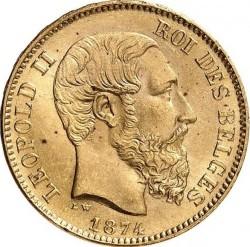Minca > 20francs, 1874 - Belgicko  - obverse