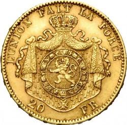 Minca > 20francs, 1876 - Belgicko  - reverse
