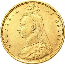 Coin > ½ pound (half sovereign), 1887-1893 - United Kingdom  - obverse