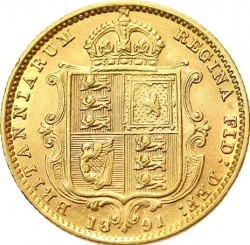 Coin > ½ pound (half sovereign), 1887-1893 - United Kingdom  - reverse