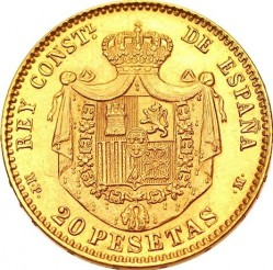 Moeda > 20pesetas, 1896-1899 - Espanha  - reverse