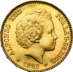 العملة > 20بيزيتا, 1892 - إسبانيا  - obverse