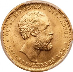 Coin > 20 kroner, 1876-1902 - Norway  - obverse