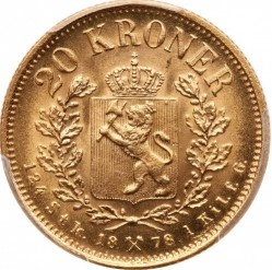 Coin > 20 kroner, 1876-1902 - Norway  - reverse