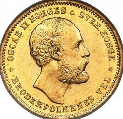 Moneta > 20kronų, 1876-1902 - Norvegija  - obverse