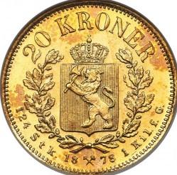 Moneta > 20kronų, 1876-1902 - Norvegija  - reverse