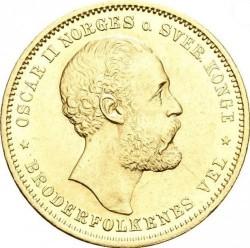 Coin > 20kroner, 1876-1902 - Norway  - obverse