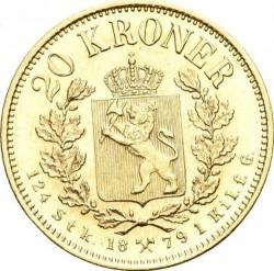 Coin > 20kroner, 1876-1902 - Norway  - reverse