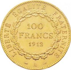 Monedă > 100franci, 1907-1914 - Franța  - reverse
