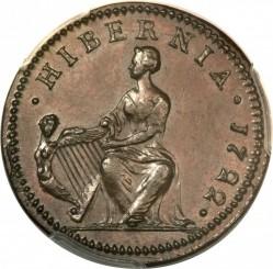Mynt > ½penny, 1722 - Irland  (Harp on left) - reverse