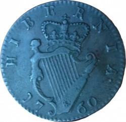 Monedă > ½penny, 1760 - Irlanda  - reverse