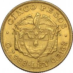 Pièce > 5pesos, 1919-1924 - Colombie  - reverse