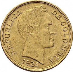 Coin > 10pesos, 1919-1924 - Colombia  - obverse