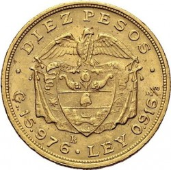 Coin > 10pesos, 1919-1924 - Colombia  - reverse