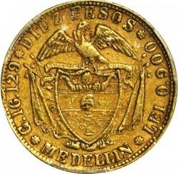 Monēta > 10peso, 1862-1876 - Kolumbija  - reverse