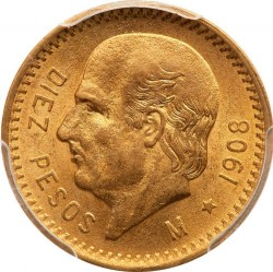 מטבע > 10פסו, 1908 - מקסיקו  - reverse