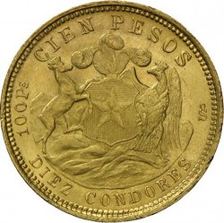 Münze > 100Pesos, 1926 - Chile  - reverse