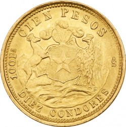 Coin > 100pesos, 1926 - Chile  - reverse