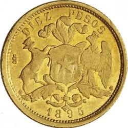 Moneta > 10pesų, 1895 - Čilė  - reverse