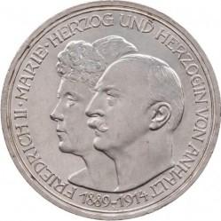 Moneda > 3marcos, 1914 - Alemán (Imperio)  (25º Aniversario - Federico II y Marie von Baden) - obverse