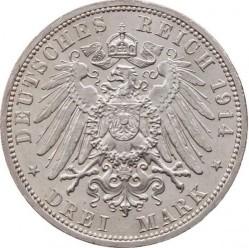 Moneda > 3marcos, 1914 - Alemán (Imperio)  (25º Aniversario - Federico II y Marie von Baden) - reverse