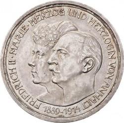 Moneda > 5marcos, 1914 - Alemán (Imperio)  (25º Aniversario - Federico II y Marie von Baden) - obverse
