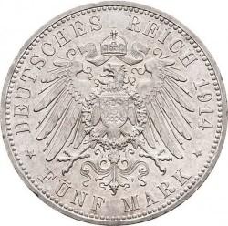 Moneda > 5marcos, 1914 - Alemán (Imperio)  (25º Aniversario - Federico II y Marie von Baden) - reverse