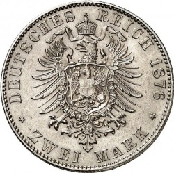 Coin > 2 mark, 1876-1883 - German Empire  - reverse