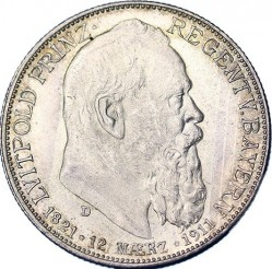Moneda > 2marcos, 1911 - Alemán (Imperio)  (90º Aniversario - Nacimiento del Príncipe Regente Luitpold) - obverse