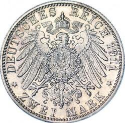 Moneda > 2marcos, 1911 - Alemán (Imperio)  (90º Aniversario - Nacimiento del Príncipe Regente Luitpold) - reverse