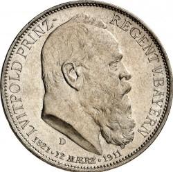 Moneda > 3marcos, 1911 - Alemán (Imperio)  (90º Aniversario - Nacimiento del Príncipe Regente Luitpold) - obverse